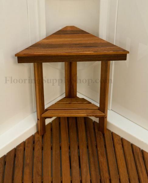 Teak Wood Shower Bath Mat   Bathroom And Shower Teak Wood Triangle Corner  Bench $129.99