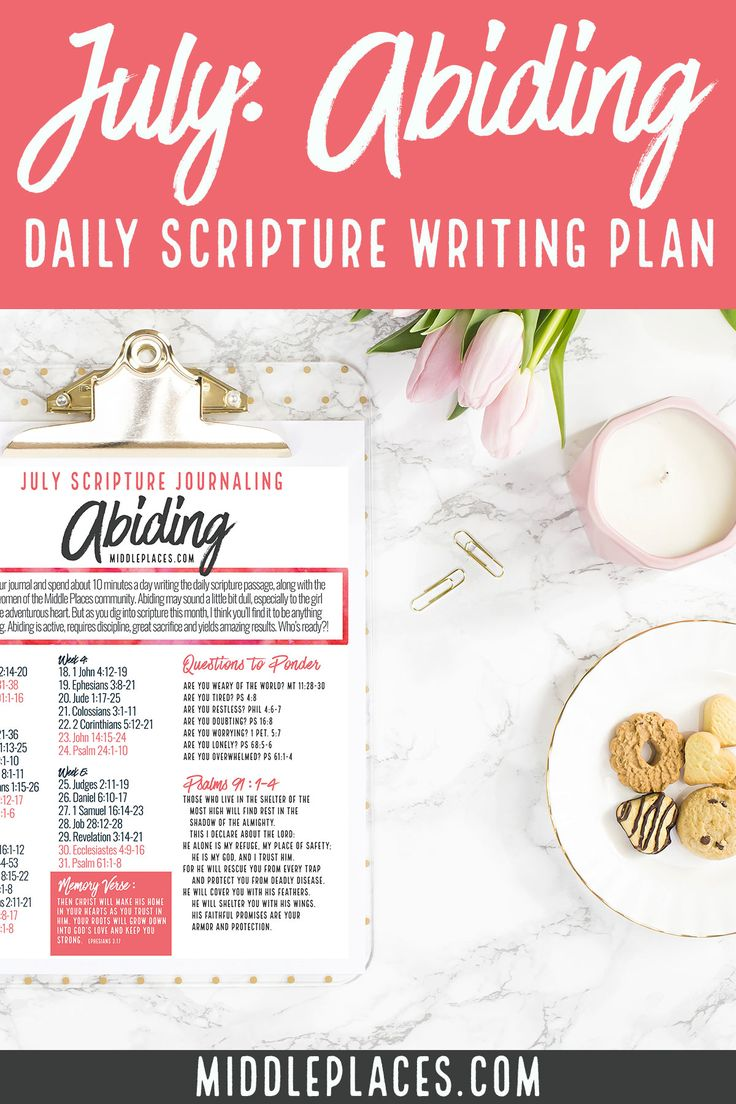 It's that time again … time to roll out a new Daily Scripture Writing Plan. The July Daily Scripture Writing Plan promises to pack a punch to your spiritual life as we explore the topic of Abiding throughout the Bible. If you're anything like me, you immediately thought of the parable that Jesus told about …