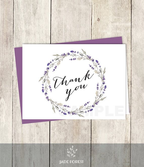 10 OFF With Coupon Code PIN10 Rustic Thank You Card DIY Purple Flowers