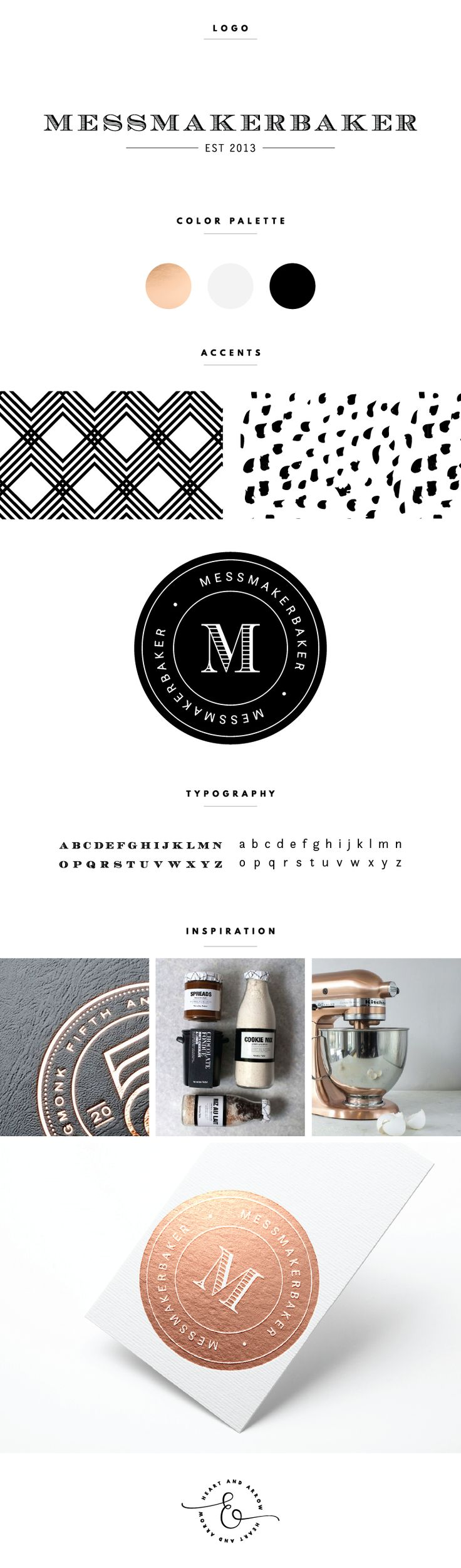 *I love the lower half of this brand board*-Emma---   Rose gold, black, and white brand board and logo design     by Heart & Arrow
