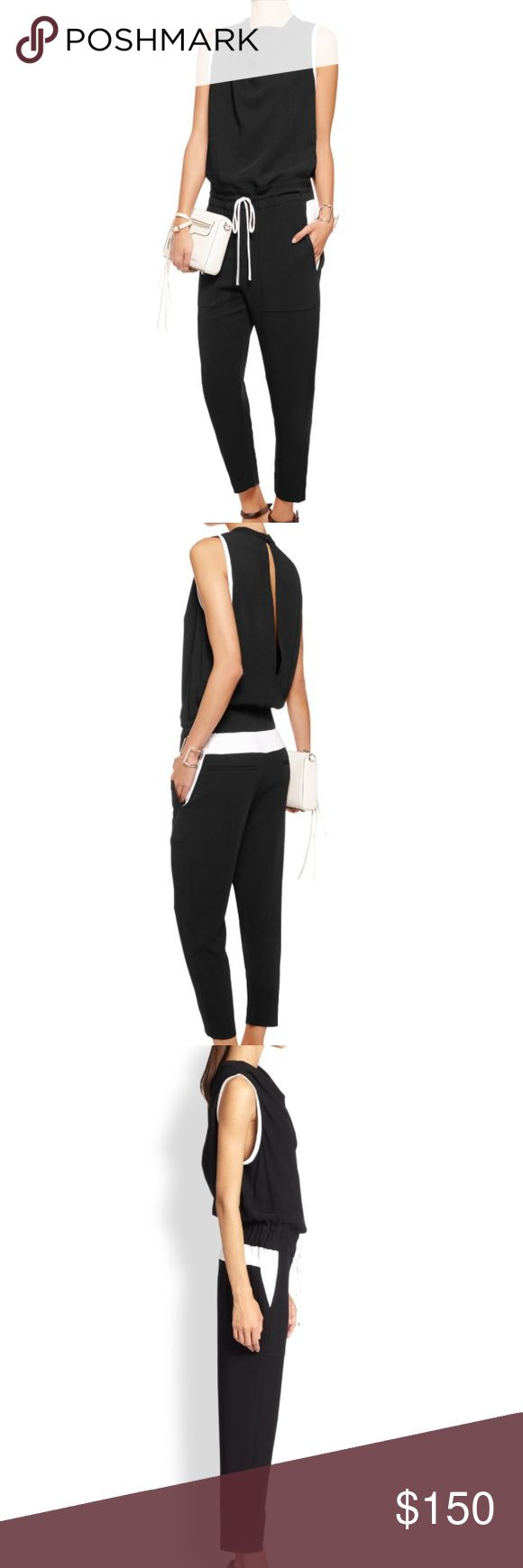 """Helmut Lang Torsion Cropped Jumpsuit size 2 Helmut Lang Torsion Cropped Jumpsuit w/ Tags size 2  Black and white Helmut Lang Torsion jumpsuit with cropped silhouette, dual slip pockets at sides, dual welt pockets and slit at back with snap button closure at nape and drawstring closure at waist.  ColorBlack, White  Condition pristine  Bust: 34""""  Waist: 31""""  Hip: 35""""  Rise: 9.5""""  Inseam: 22.5""""  Leg Opening: 11""""  Estimated Retail: $540.00  Condition: Pristine  Fabric: 95% Viscose, 5% Elastane…"""