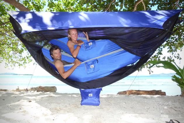 Two-person hammock tent; very cool.