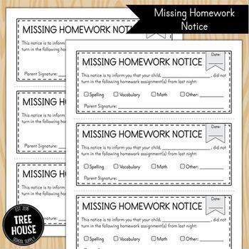 2nd grader not doing homework notice