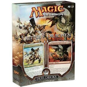 Magic the Gathering: MTG Duel Decks: Knights vs Dragons (Two 60 Card Decks) by Wizards of the Coast. $50.99. Each of the cards in the two 60-card decks will be black-bordered and tournament legal. Knights vs. Dragons is based on the well-known folklore and fantasy tales of knights hunting down and slaying dangerous dragons. NOTE: This product can ONLY be shipped the United States, Puerto Rico, APO/FPOs and USVI. Magic the Gathering: MTG Duel Decks: Knights vs Dr...