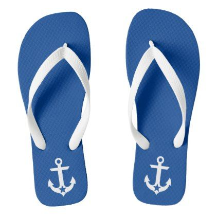 #white - #Nautical Star Anchor Blue and White Flip Flops
