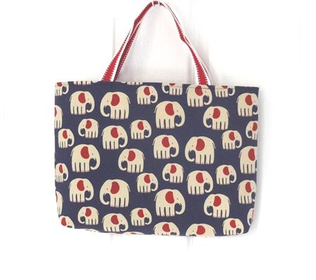 Blue and Red Elephant Carry All Tote Bag