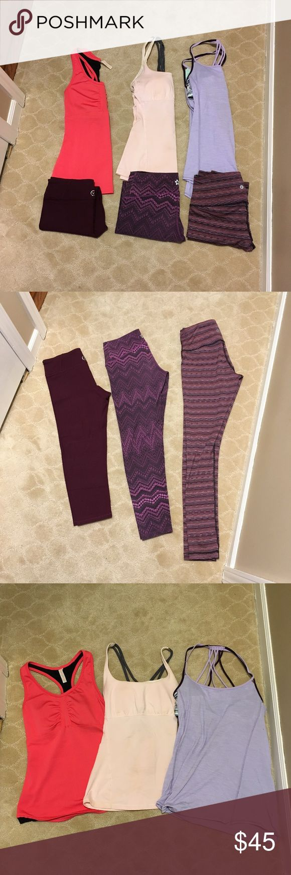 Pretty in Pink Yoga Bundle! Includes: -1 purple Lululemon top with strappy bra (6) -2 pink Lucy tops with built in bra support (S)  -1 pair of stripped full-length leggings (S) -1 pair of cropped purple American Eagle leggings (S) -1 pair of cropped  mandela designed purple leggings (S) lululemon athletica Pants Leggings