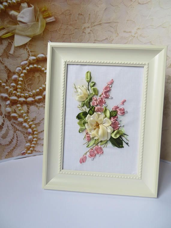 3d Ribbon Embroidery Art 3d Flower Art Beautiful Gift Embroidered Wall Decor Cotton Anniversary Gift To Her Embroidery Flowers Ribbon Embroidery Embroidery Art