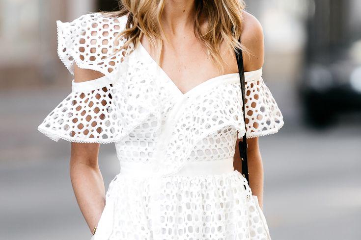 Fashion Jackson, Dallas Blogger, Fashion Blogger, Street Style, Self-Portrait White Lace Ruffle Sleeve Midi Dress, Chloe Faye Black Handbag