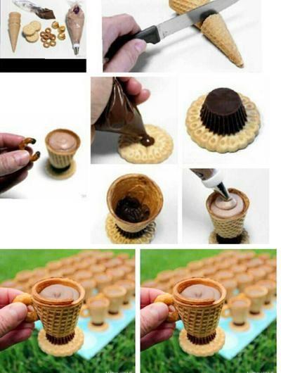 ijshoorntjes gebruikt als bekertjes en gevuld met room/chocolade. Leuk voor een kinderfeestje.