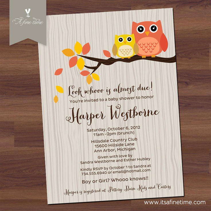 baby shower invitation wording for bringing diapers%0A Owl Baby Shower Invitation  Little Owl in Tree  Wood  Fall or Autumn  Invite
