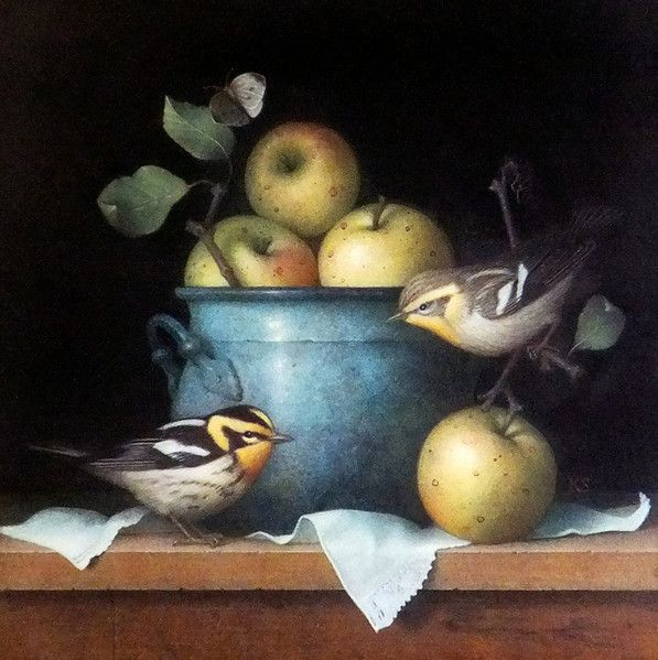 "Koo Schadler, ""Apples and Blackburnian Warblers,"" 2012, egg tempera on true gesso panel."