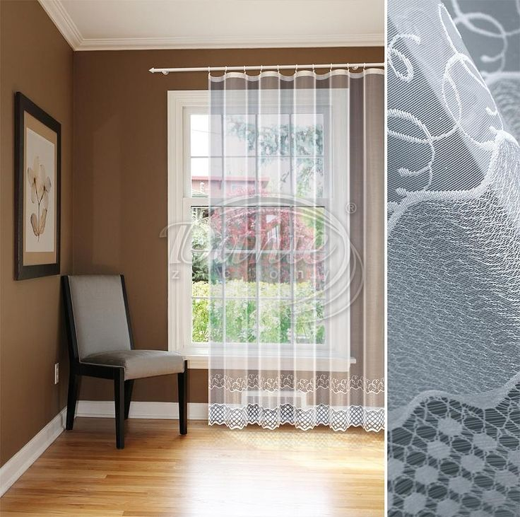 Záclona LAMA     Krásná jemná záclona LAMA se zdobeným spodním okrajem.     Záclona je hladká, bez vzoru, vzor na spodním okraji dosahuje do výšky 35 cm.     Záclona vynikne v každém inteiéru a hodí se i do soupravy na balkón a okno.