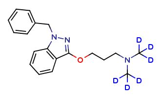 Benzydamine D6 Benzydamine is a locally-acting nonsteroidal anti-inflammatory drug (NSAID) with local anaesthetic and analgesic properties for pain relief and anti-inflammatory treatment of inflammatory conditions of the mouth and throat. Labeled Benzydamine, intended for use as an internal standard for the quantification of Benzydamine by GC- or LC-mass spectrometry.