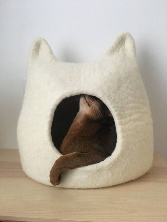 Cat Bed Cave From Natural White Felted Wool Warm And Comfy Pet