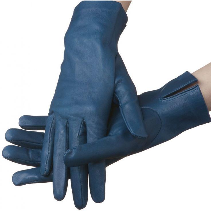 Flora – unlined lambskin gloves, petrol blue