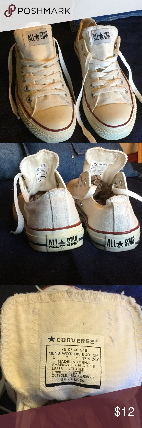 Converse All Stars White Ladies 7 Men's 5 These used Converse All Stars are in great shape. They are ladies sz 7 or men's sz 5. No damage, clean with good laces. Converse  Shoes Athletic Shoes