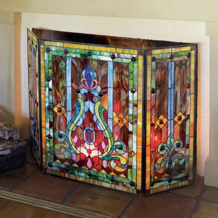 Fireplace Design glass fireplace screen : 70 best Stained Glass Fireplace Screens images on Pinterest