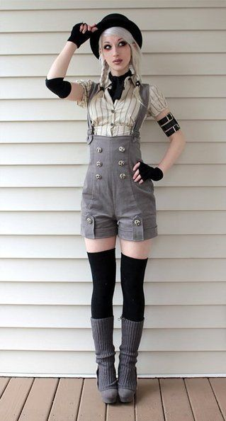 """""""Magnificent Neo-Victorian Fashion Sub-Cultures ..."""" I have the sudden burning desire to buy a pair of dungarees and cut them into shorts like this. Love"""