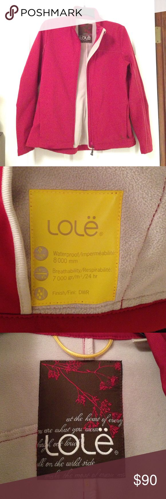 Lole waterproof lined jacket Dark pink Lole jacket in excellent condition. (Was only worn twice) Waterproof. Lining is similar to fleece. Very warm. Has traditional side pockets plus a vertical chest pocket, perfect for a phone. Also has 2 small openings for headphone cables. Lole Jackets & Coats Utility Jackets