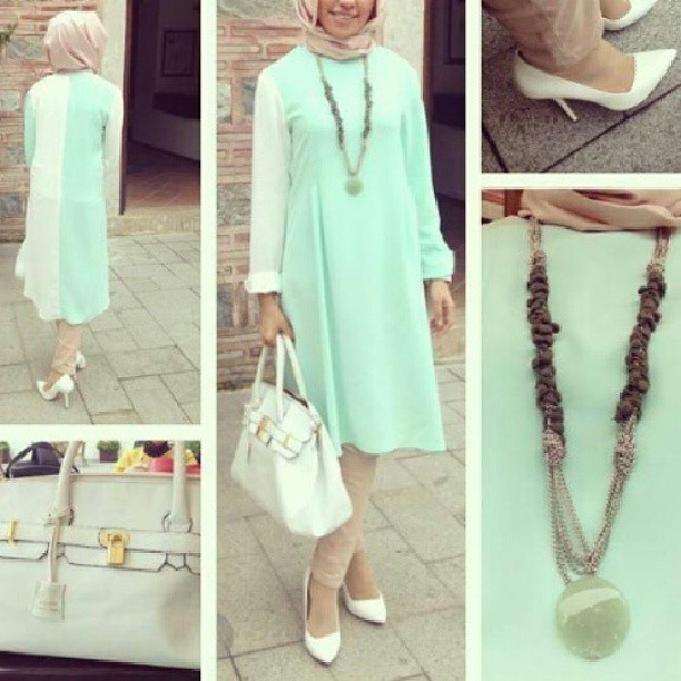 What a lovely combination of soft colors for the summer! ❤ hijab style
