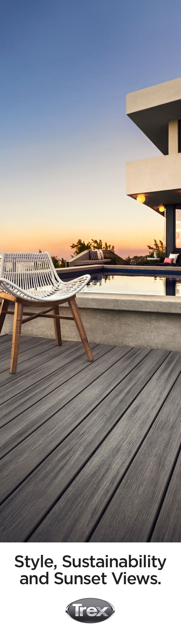 Trex composite decking in Island Mist offers hassle-free maintenance, long-lasting style, and sustainability in a calm, silvery-grey shade. Try Trex in Island Mist to design your outdoor sanctuary, and order deck samples at shop.trex.com.