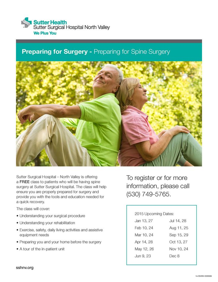 Having spine surgery? SutterSurgicalHospitalNorthValley
