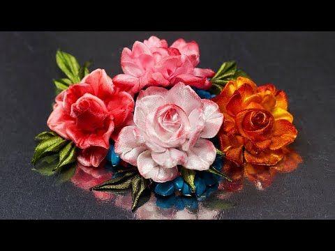 Цветок РОЗЫ (спрей-розочки). Мастер класс. КАНЗАШИ / DIY Ribbon Flower Kanzashi - YouTube
