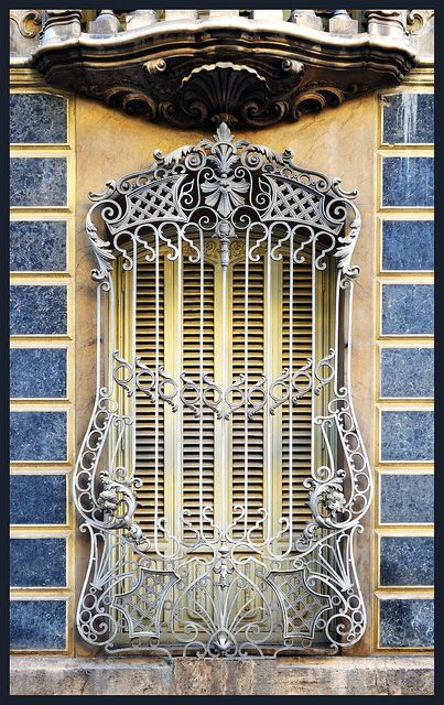 Art Nouveau Ornate ironwork around window in Valencia, Spain