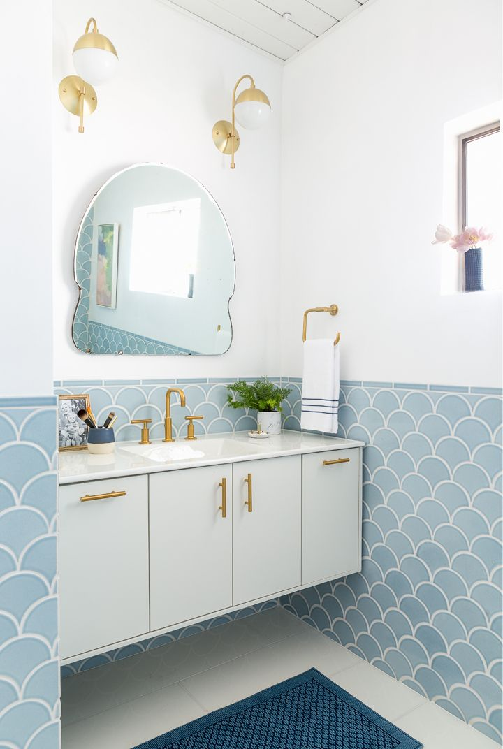 fish scales tiles bathroom renovation before after light powder blue serenity pantone baby pastel gold fixtures bid century