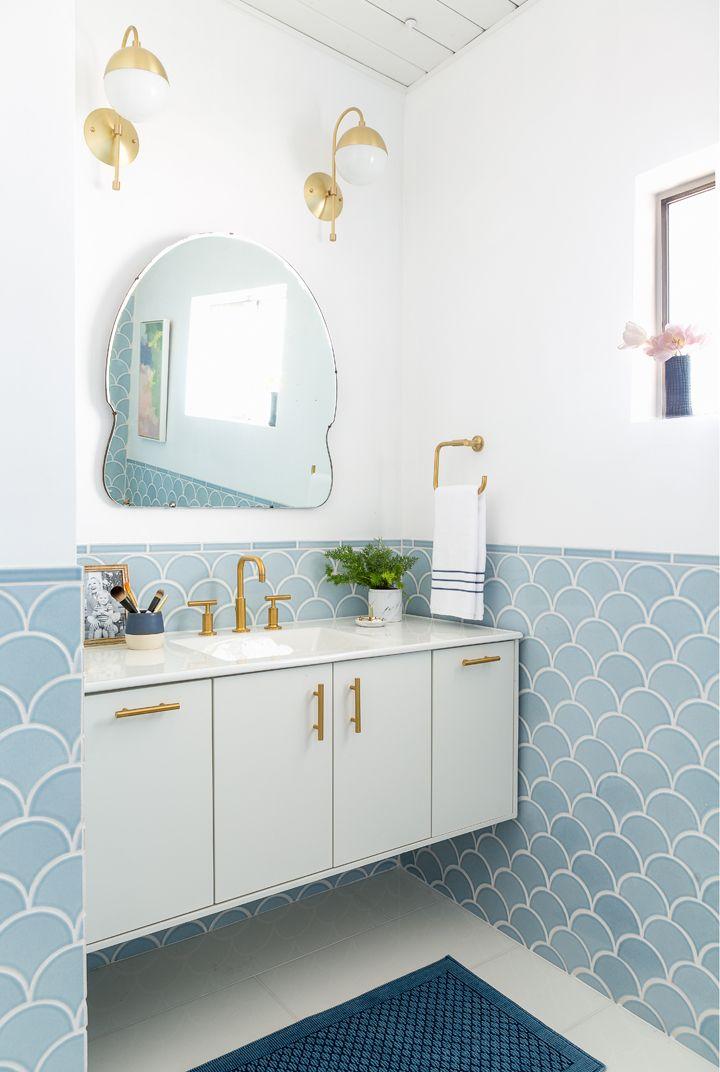 fish scales tiles bathroom renovation before after light powder blue serenity pantone baby pastel gold fixtures bid century