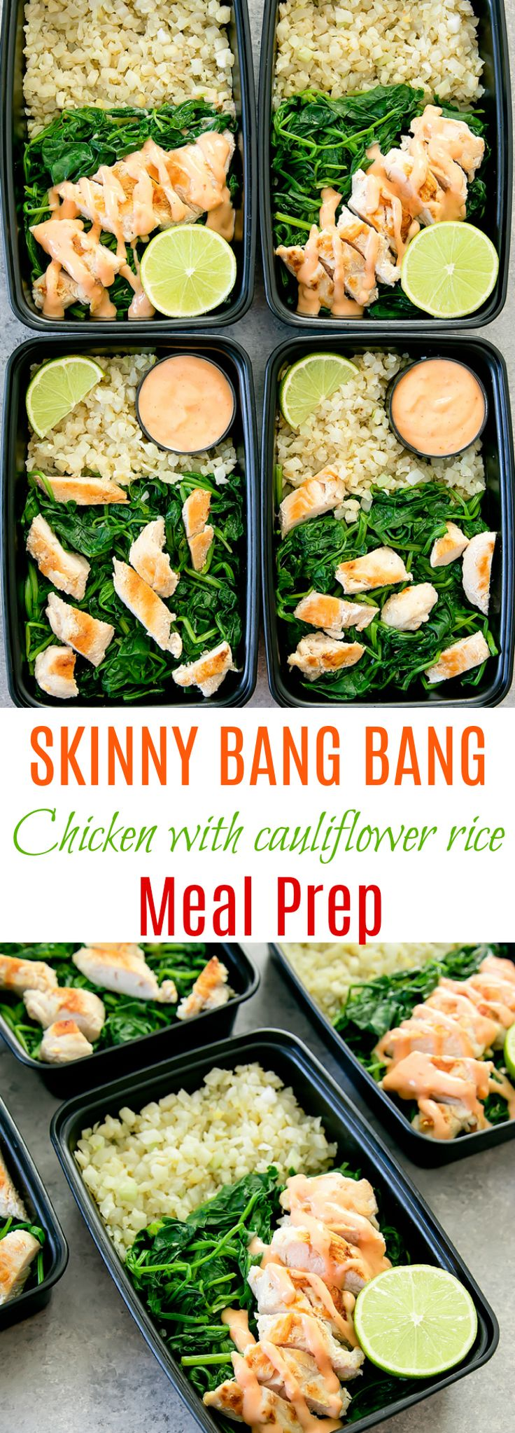 Skinny Bang Bang Chicken with Cauliflower Rice Weekly Meal Prep. An easy, low carb, and flavorful meal prep dish.