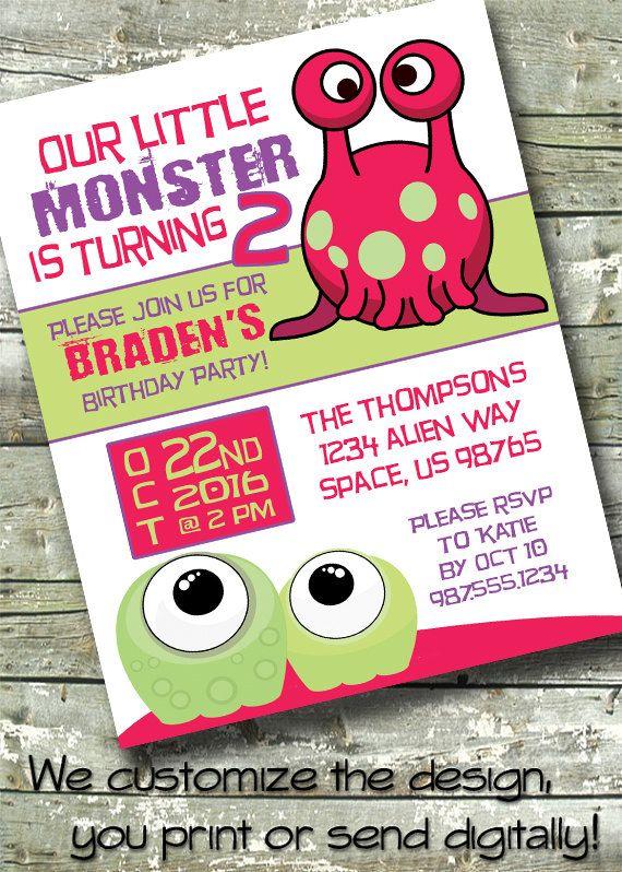 ALIEN MONSTER Birthday Party  Boy's Birthday  5x7 Invite
