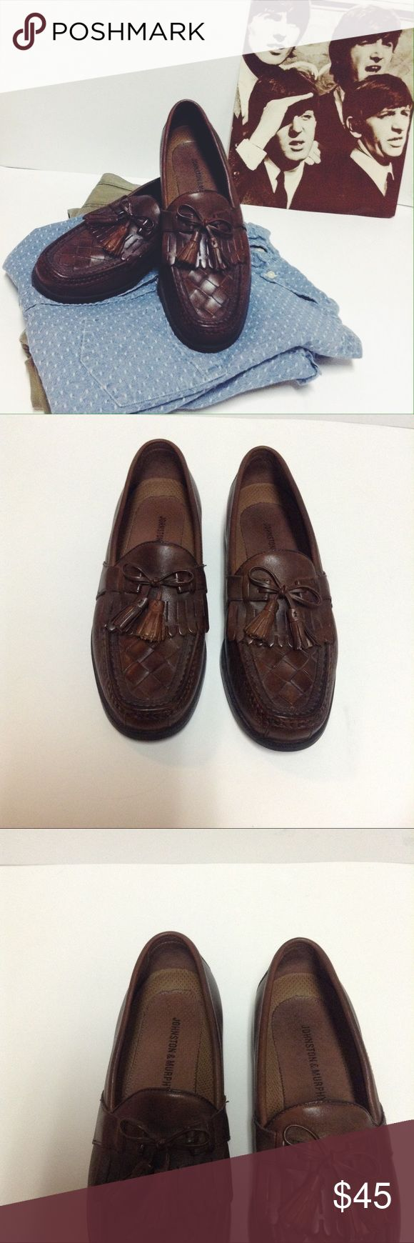 Brown leather Johnston & Murphy tassel loafers Soft leather Johnston& Murphy woven front tassel loafers great condition with slight scuffing on soles of shoes size 9 Johnston & Murphy Shoes Loafers & Slip-Ons