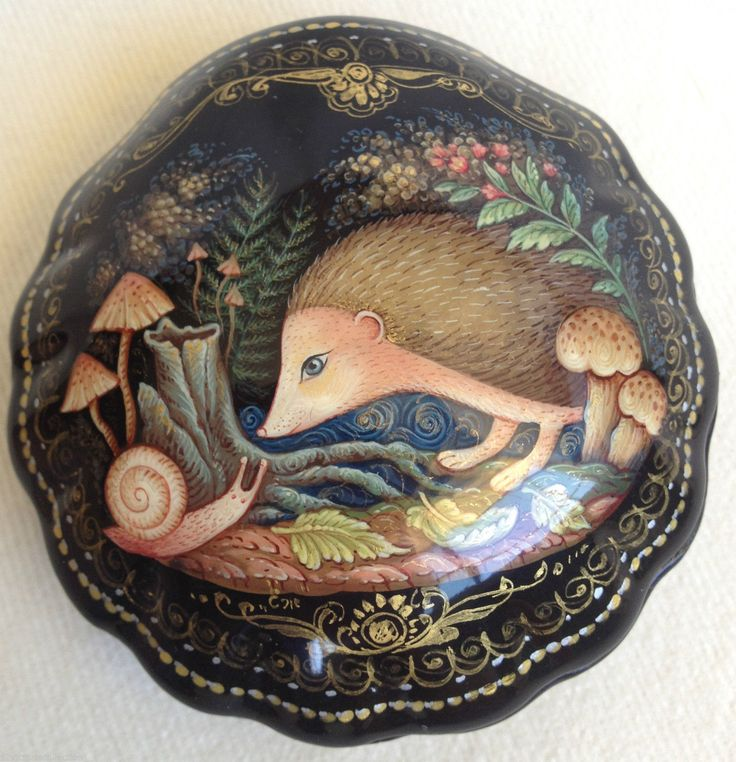Hedgehog and Snail Palekh Lacquer Box Russian Handpainted Art Work | eBay