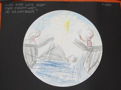Tekenopdracht - Wat ziet Sinterklaas door het raam van de boot, net voordat hij aankomt?