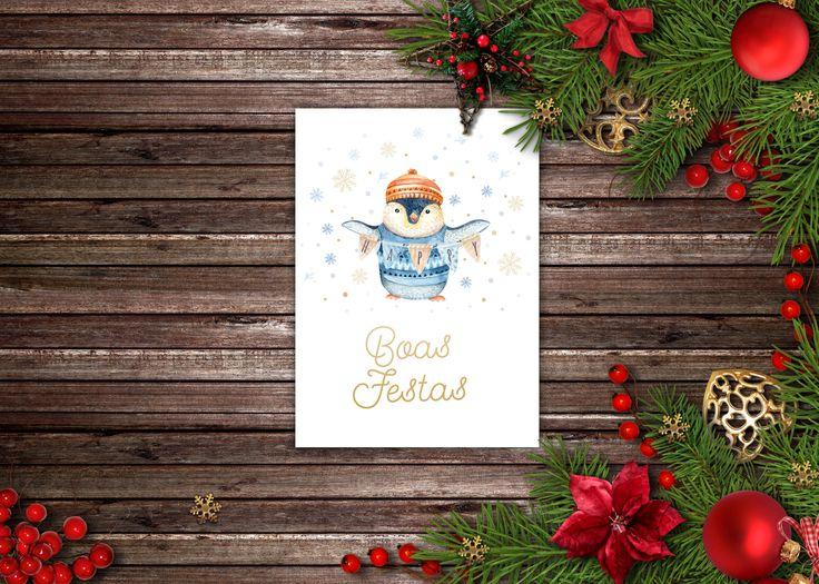 Mais um postal de natal muito querido com um pinguim para escreverem e enviarem a alguém, para encomendar enviem mail para madebycatia@gmail.com