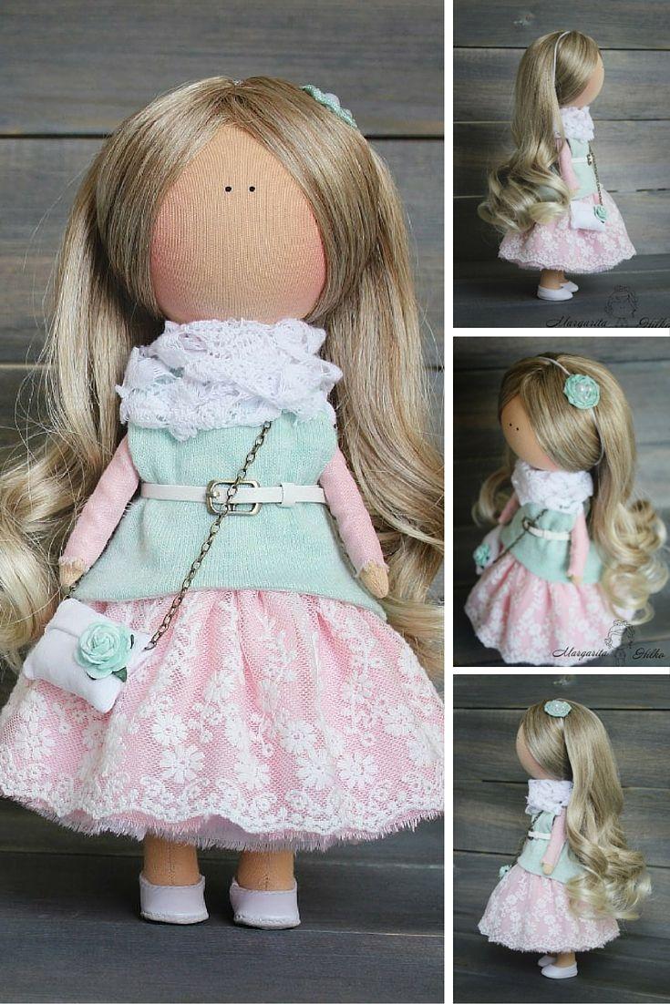 Decor doll blonde pink green Nursery decor Fabric doll Cloth doll Tilda doll Baby doll Art doll
