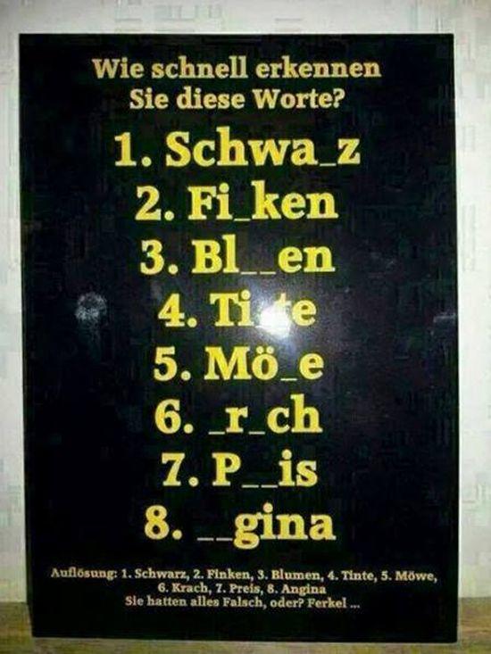 Wie schnell erkennen Sie diese Worte?   Deutsche auf ...