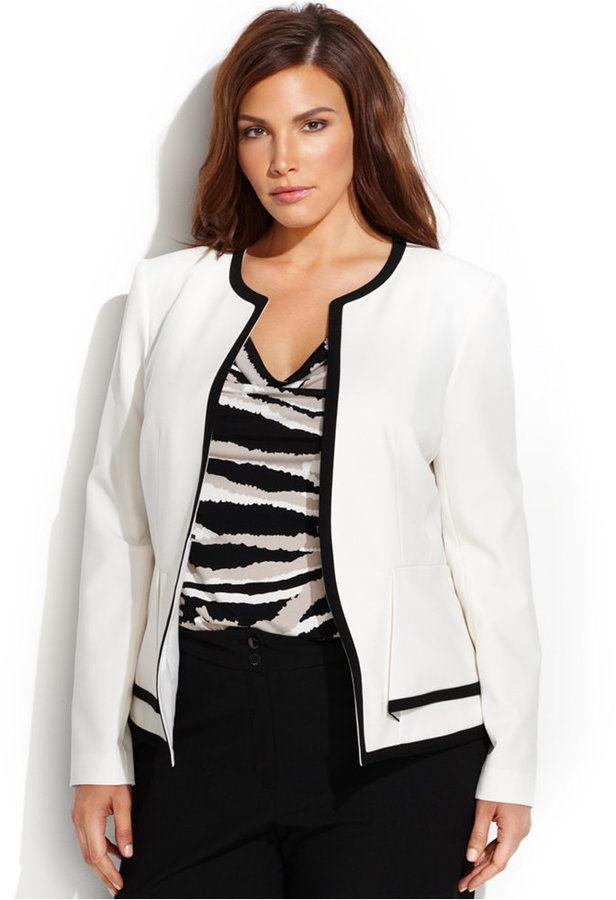 calvin klein plus size contrasttrim peplum jacket plus