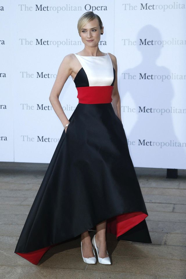 White, red and black colour block gown with dramatic structural skirt