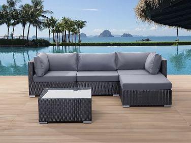 Gartenmöbel Schwarz   Rattanmöbel   Polyrattan Lounge   Gartensofa   SANO