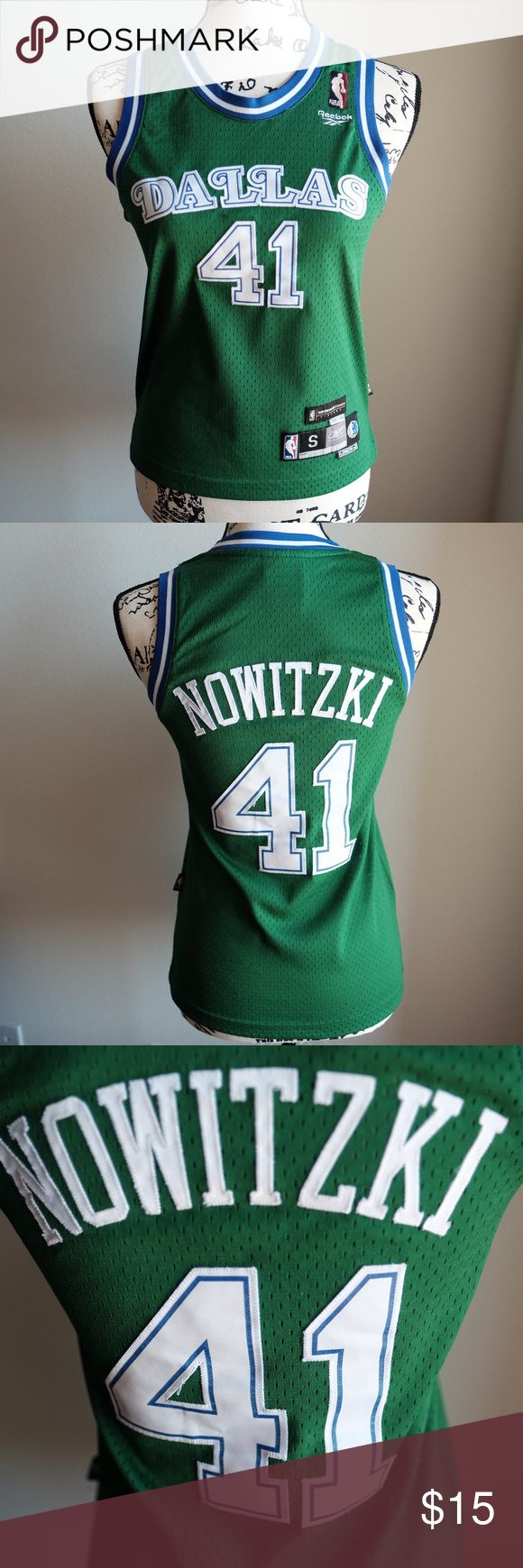 """Dallas Mavericks Nowitzki Green Basketball Jersey #41 Dirk Nowitzki.  Green alternate jersey.  Stitched lettering.  Size Youth Small, however I wore it as a fitted jersey.  (Fits like Women's XS/S).  16"""" Bust.  22"""" Front Length.  24.5"""" Back Length. Reebok Shirts & Tops"""