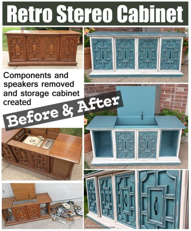 How this retro stereo cabinet was repurposed as a storage cabinet, and  refinished in Sea