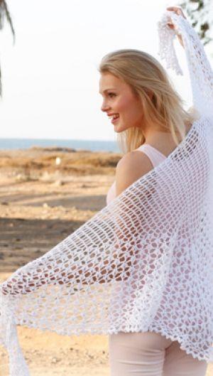 Hækleopskrift på hvidt sjal med hulmønster | Feminin hækling og strik | Mange hækle- og strikkeopskrifter på sjaler | Håndarbejde