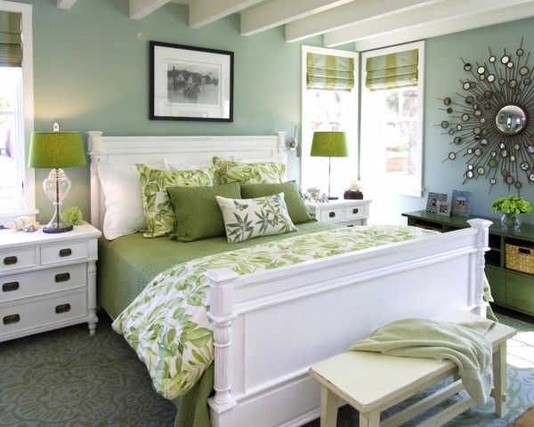 Dormitorio menta y manzana