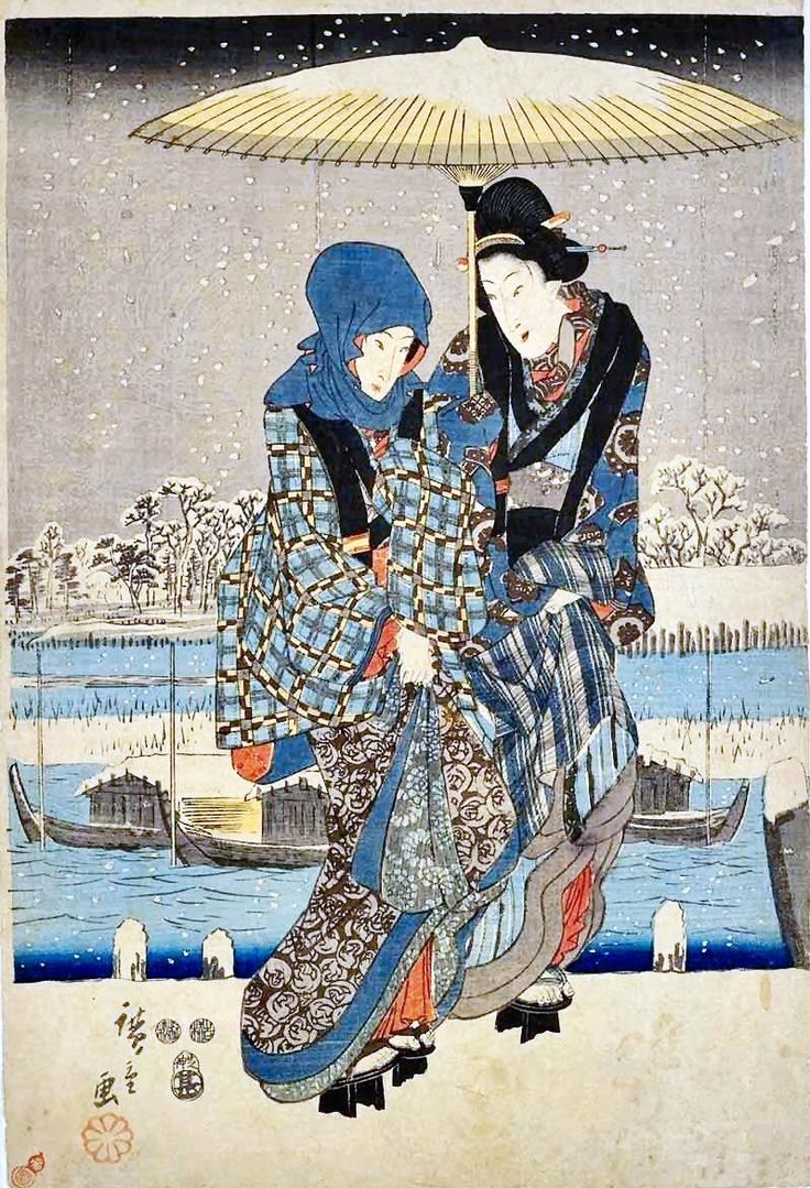 江戸名所四季の眺 隅田川雪中の図(中)