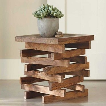 Great looking wood stack stool. This could be a DIY plant stand made out of old pallets. Or side tables for porch.
