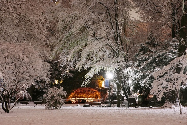 "ND Grotto in winter. Like the Irish? Be sure to check out and ""LIKE"" my Facebook Page https://www.facebook.com/HereComestheIrish Please be sure to upload and share any personal pictures of your Notre Dame experience with your fellow Irish fans!"
