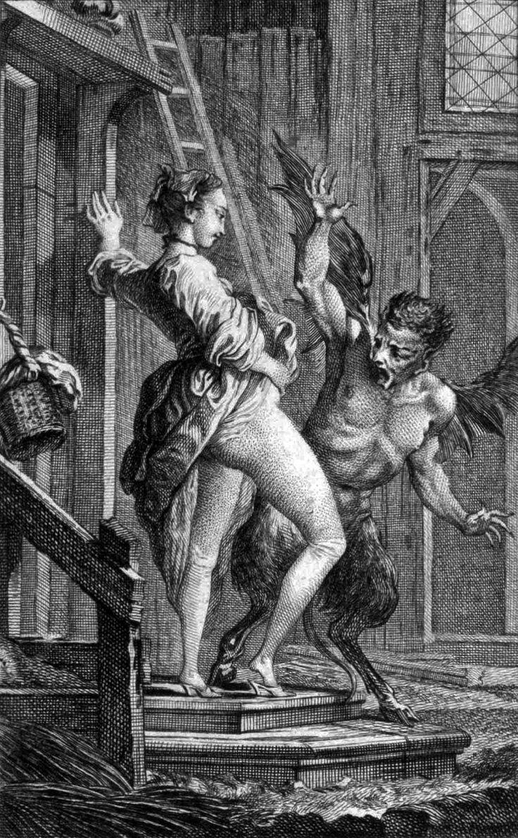 Il diavolo di Papefiguiere, incisione di Charles Eisen per i racconti di Jean de la Fontaine